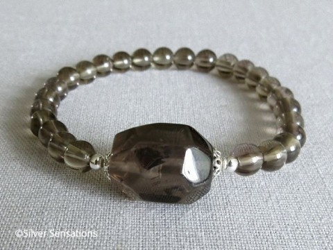 Brown Smokey (Smoky) Quartz Bracelet With Nugget Bead & Sterling Silver
